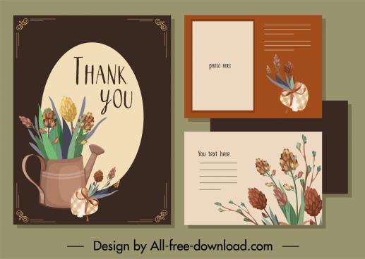 thank card template elegant classical flowerpot decor