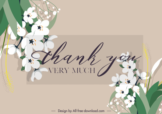 thank quotation banner elegant calligraphic botany decor