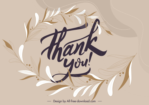 thank you background template elegant leaves sketch