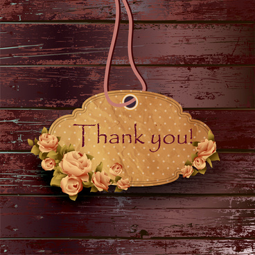 thank you flower frame on wood background