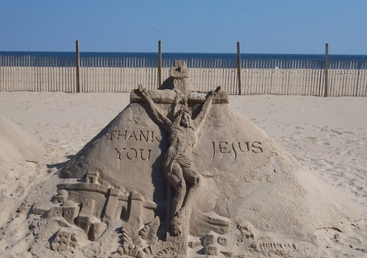 thank you jesus sand sculpture