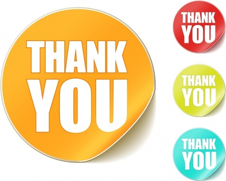 thanking labels templates shiny colored modern round shapes