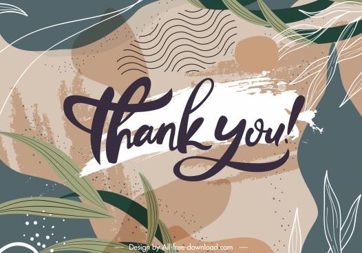 thankful background template elegant retro handdrawn leaves decor