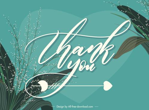thankful card background elegant classical plants calligraphy decor