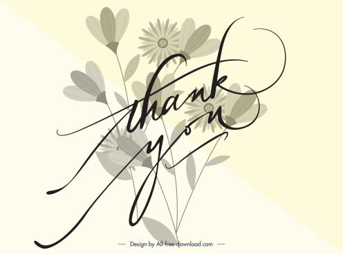 thankful card background template elegant botany calligraphy decor