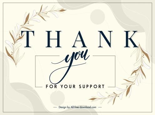 thankful card template bright elegant design botany decor
