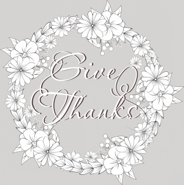 thanking background white floral wreath calligraphy decoration