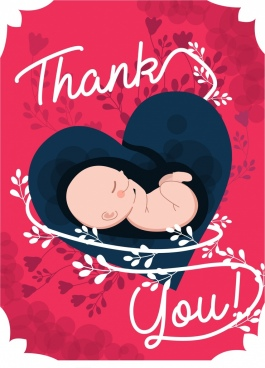 thanking banner heart womb baby flowers icons decor