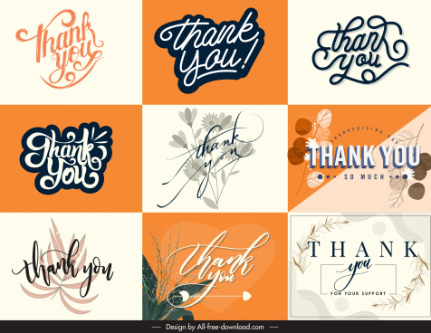thanking card decor templates elegant calligraphic plants sketch
