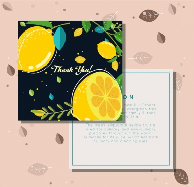 thanking postcard lemon fruits decoration