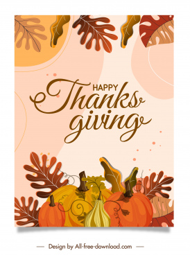 thanks giving banner template classical pumpkin leaves decor