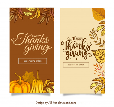 thanks giving banners templates elegant classic nature elements