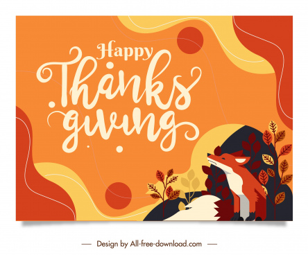 thanks giving card template colorful classical natural elements