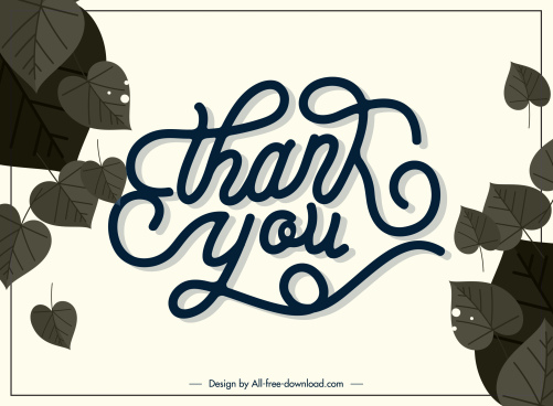 thanks giving card template retro leaves calligraphy decor