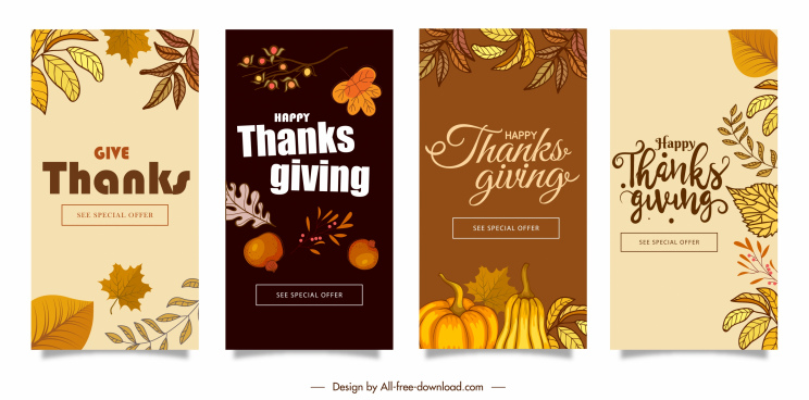thanks giving card templates elegant classical plants elements