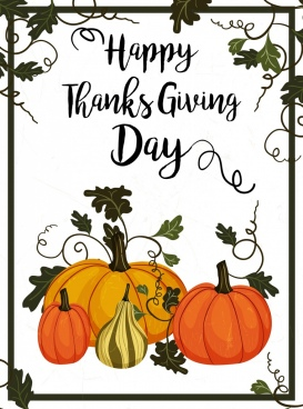 thanks giving day poster pumpkin leaves frame decoration