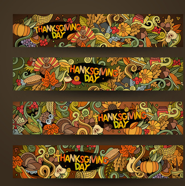 thanksgiving autumn banner hand drawn vector