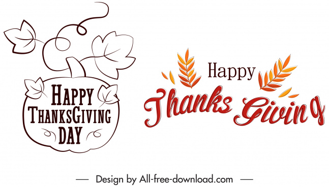thanksgiving decor elements leaf calligraphic sketch