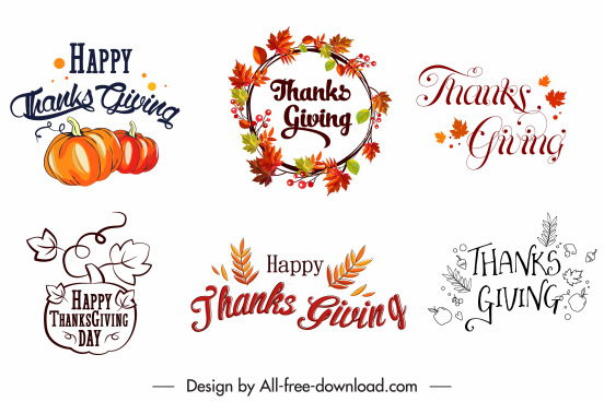 thanksgiving decorative elements calligraphic wreath leaf pumpkin sketch