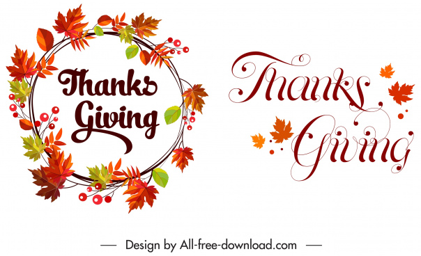 thanksgiving decorative elements flora wreath calligraphic sketch