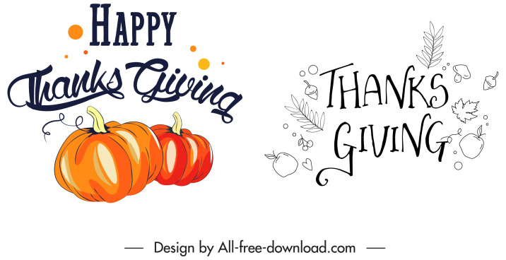 thanksgiving design elements pumpkin leaves text decor