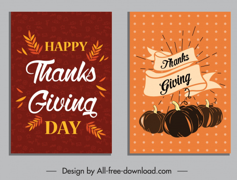 thanksgiving posters classical calligraphic leaf pumpkin sketch