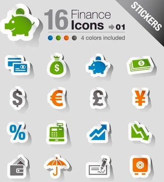 the beautifully financial icon labels vector