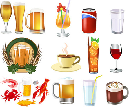 the beer and beverage etc vector set