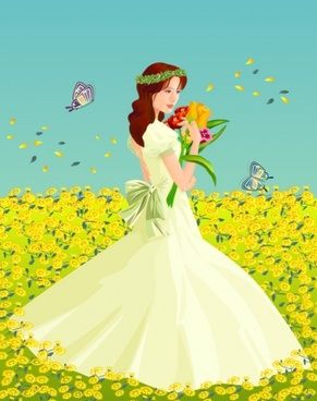 the bride flowers vector