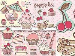 the cartoon cakes tag vector
