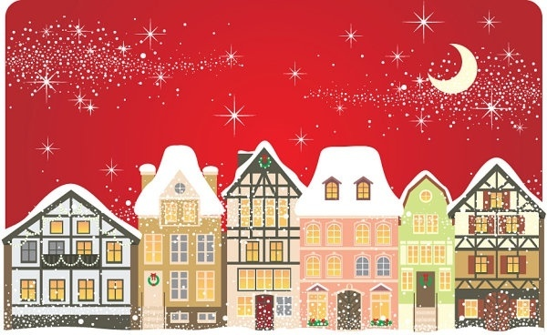 the cartoon christmas house background 01 vector