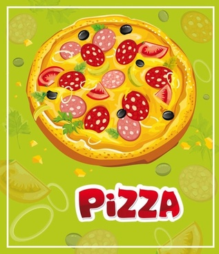 the cartoon pizza01vector