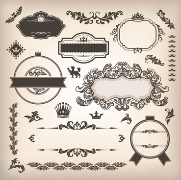 the classic pattern stickers 02 vector