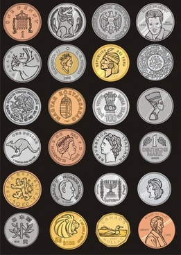 the commemorative coins around the world vector