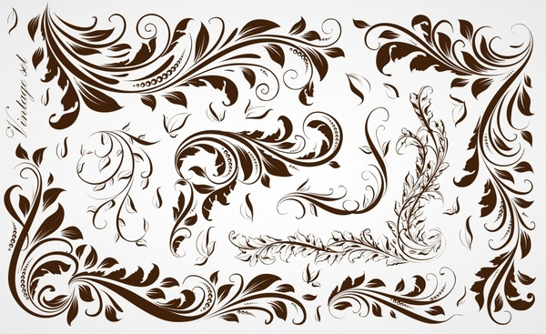 pattern design elements retro curved floral sketch