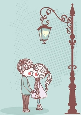 the cute couple illustrator 01 vector
