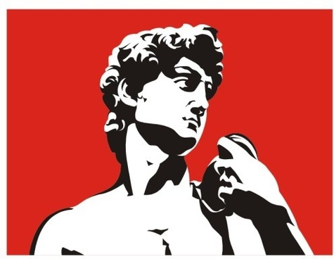 the david portrait black and white and red vector illustration