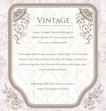vintage border template elegant european style symmetric design
