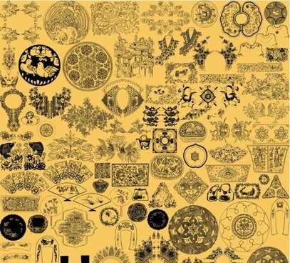 the embroidered chinese painting line drawing pattern psd