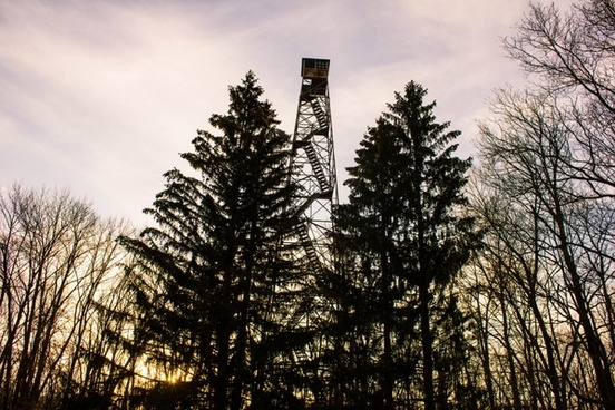 the firetower at sunset at yellow river state forest iowa