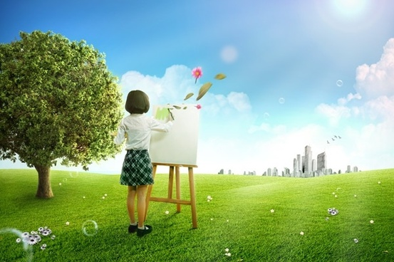the grass painting scenery little girl psd layered