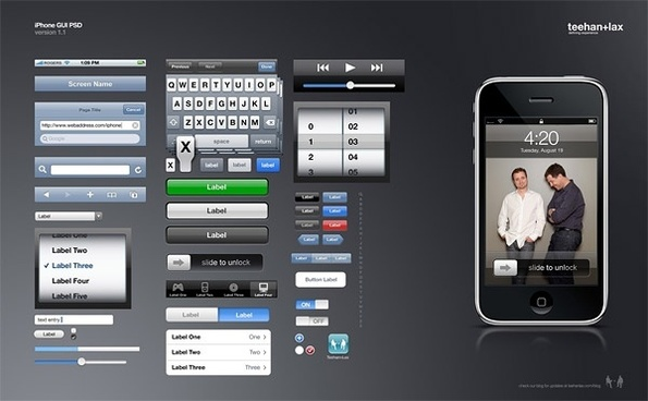 the iphone gui beautifully psd layered
