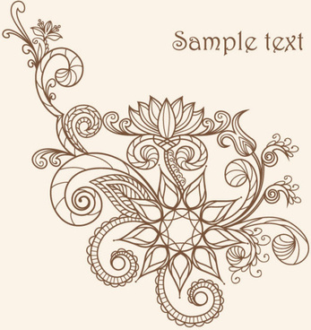 the line of draft of exquisite floral vector