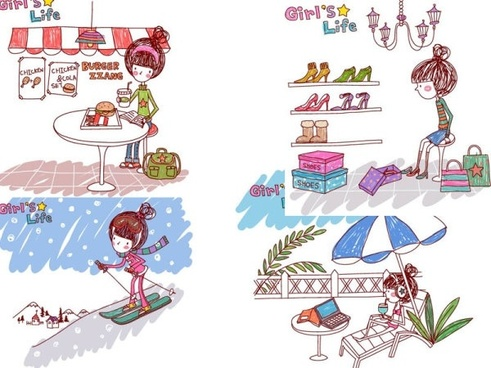 the lives of girls eps girl life 6 vector