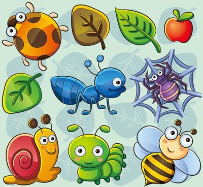 the lovely insect plant 02 vector