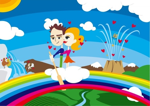 romance background couples and hearts colorful design style