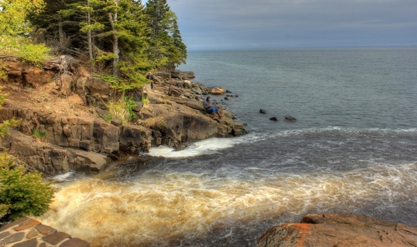 the mouth of the cascade at cascade river state park minnesota