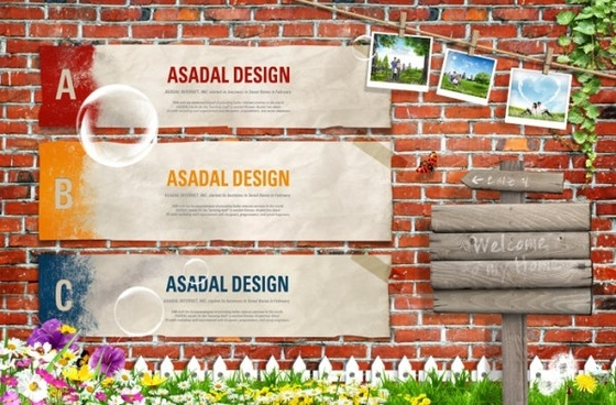the nostalgic brick wall background signs psd