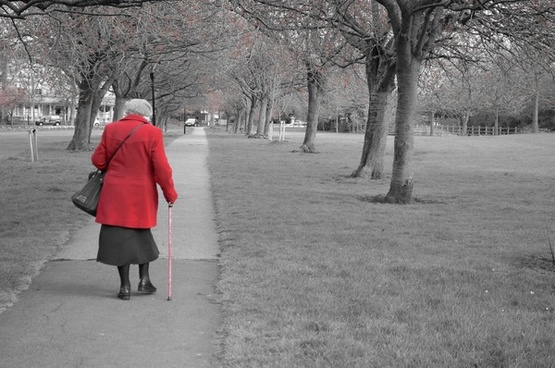 the old lady in a red coat