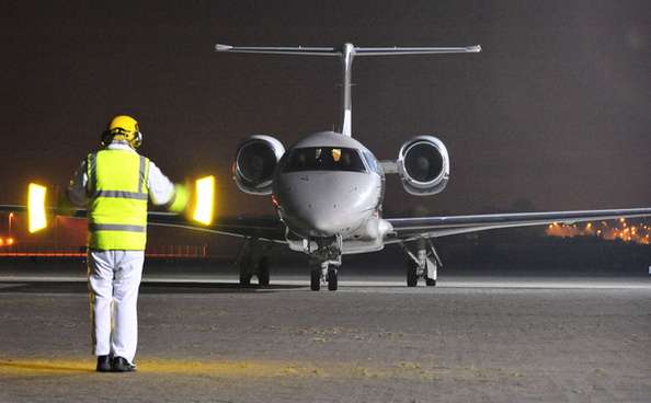 the plane carrying abu qatada taxis onto the runway